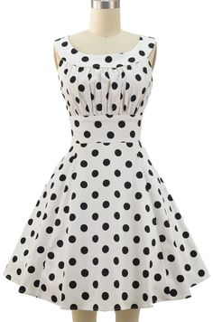 FINAL SALE garden party glamour dress - white & black polka dot (flawed, size small)