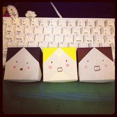 origami ~girl face box~ 揃うとかわいいな。#chinhako #origami - @chinhako- #webstagram