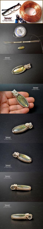 Wire Wrap Pendant. Natural Stone Labradorite