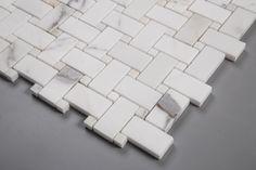 SAMPLE Calacatta Calcutta Gold 1x2 Basketweave Natural Stone Mosaic Tile