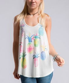 Another great find on #zulily! Off-White Pineapples Scoop Neck Tank #zulilyfinds