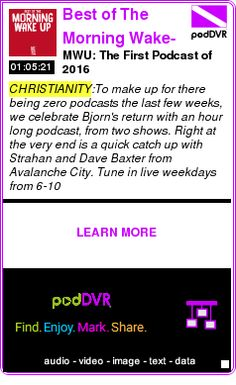 #CHRISTIANITY #PODCAST  Best of The Morning Wake-up    MWU: The First Podcast of 2016    LISTEN...  http://podDVR.COM/?c=3081b1c9-6a4e-076a-1788-85024fac5564