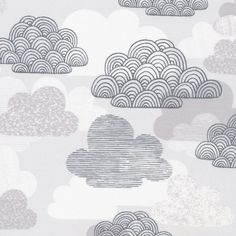 Passing Clouds in Gray  First Light  Eloise by laughinghousefabric