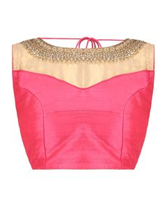 Coral Blouse with Golden Embroidery