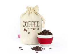 COFFEE BEANS Handmade reusable eco storage by HarvestHaversack, $27.00.  Organic cotton and hemp.