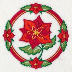 Poinsettia Circle Free machine embroidery design from Embroidery Library December 2014.