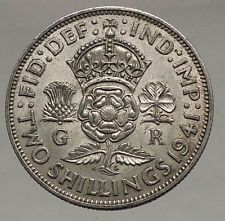 1941 United Kingdom Great Britain GEORGE VI Silver Florin 2Shillings Coin i56673