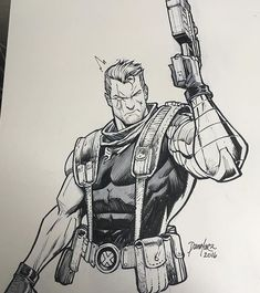 X-MEN_Cable Comic Book Characters, Marvel Characters, Comic Character, Comic Books Art, Comic Art, Character Design, Cable Marvel, Cable Xmen, Drawing Superheroes