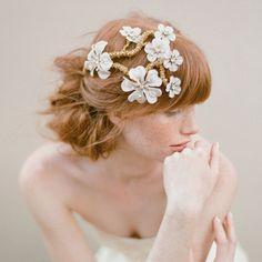 Bridal hair flowers silk flower hair vine comb Apple von myrakim, $385.00