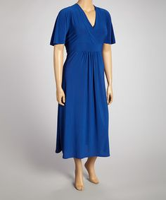 This Blue V-Neck Maxi Dress - Plus is perfect! #zulilyfinds $19.99  love this blue! Star Vixen
