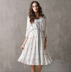 Plus size vintage embroidered cropped sleeve dress Types Of Sleeves, Dresses With Sleeves, Wedding Underwear, Blue Khakis, Types Of Skirts, Plus Size Vintage, Basic Style, Types Of Collars, Black Laces