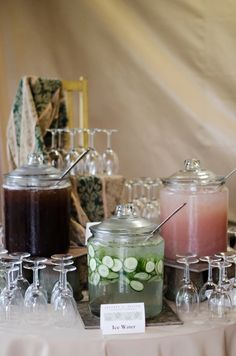Beverage Display At Rustic Wedding