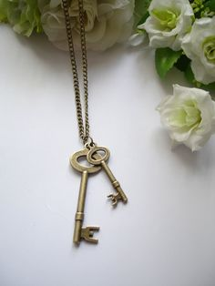Antique Inspired Pretty keys Necklace  Brass by leycollection, $1.00