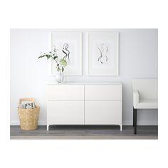 BESTÅ Storage combination with drawers - white/Selsviken high-gloss/white, drawer runner, push-open - IKEA