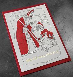Nikolokarte gedruckt auf unserem Heidelberger Tiegel. Veredelung: Goldfolienprägung Letterpress, Cover, Hot, Books, Ticket, Business Cards, Invitations, Printing, Libros