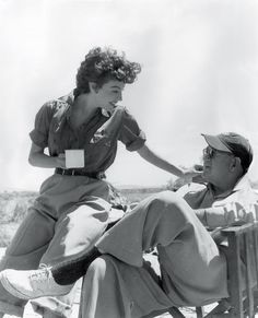Ava with director John Ford on set of Mogambo