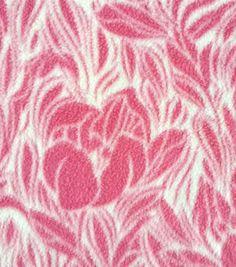 Anti-Pill Fleece Fabric Stamped Pink FloralAnti-Pill Fleece Fabric Stamped Pink Floral,