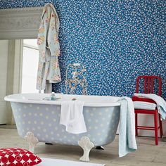 Blue floral and polka dot bathroom   Bathroom decorating   Country Homes & Interiors   Housetohome.co.uk