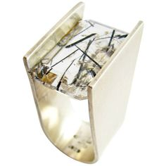Preowned Heidi Abrahamson Rutilated Quartz Sterling Silver Ring ($1,550) ❤ liked on Polyvore featuring jewelry, rings, multiple, preowned jewelry, sterling silver jewelry, emerald cut ring, sterling silver jewellery and pre owned rings