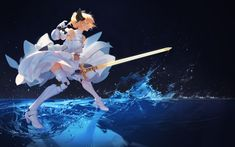 fate-stay-night-saber-white-dress-armored-sword-blonde-water-fight