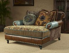 Chaise, high style, leather, fabric- this is gorgeous for a bigger bedroom & a bigger paycheck-yeah, I could only WiSH! Western Furniture, Unique Furniture, Rustic Furniture, Luxury Furniture, Furniture Ideas, Home Living, My Living Room, Living Room Furniture, Western Style