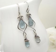 Moss aquamarine earrings sterling silver by CreativityJewellery