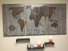 Beautiful WOOD CARVED World Map Wall Art - made from solid wood and is custom made to order. Add your own quote, pick your own font, pick your desired