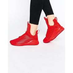 Puma X Rihanna Fenty Sneakers In Red (825 SAR) ❤ liked on Polyvore featuring shoes, sneakers, red, red slip on sneakers, breathable shoes, pull on shoes, slip-on sneakers and red shoes