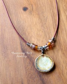 Brown Edge Wafer Pendant, Amber Glass Bead Leather Necklace, Boho Beaded Necklace, Ceramic Pendant, Summer Necklace, Copper Boho Jewelry