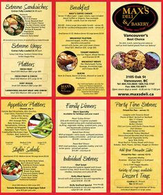 maxs deli vancouver catering menu best delicatessan and bakery