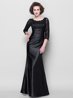 Trumpet/Mermaid Plus Sizes Mother of the Bride Dress - Black Floor-length 3/4 Length Sleeve Lace/Stretch Satin - USD $119.99