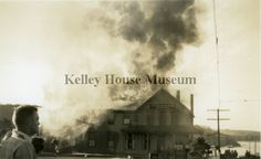 Fire at the Occidental Hotel at Lansing and Main Street in Mendocino, CA in 1941. Kelley House Museum.