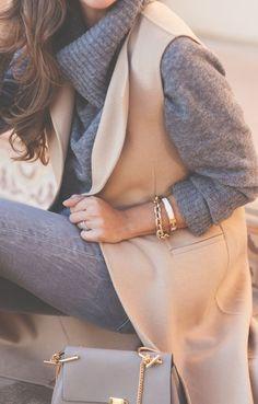 sleeveless coat. grey + camel.