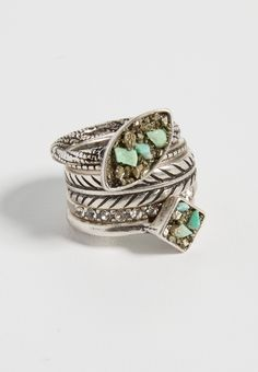 ring set with crushed pyrite and turquoise (original price, $14.50) available at #Maurices