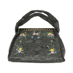 """1939 Hand Painted Black Floral """"bags of tomorrow"""" New In Box Hand Bag"""