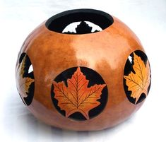 "*Gourd Art - ""Maple Leaves"" by Gloria Christian"