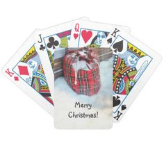 Santa Claus Bag in snow Bicycle Playing Cards