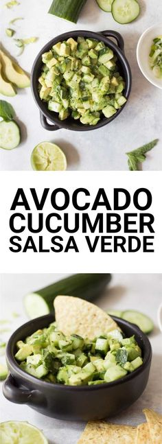 Avocado Cucumber Salsa Verde: An easy, fresh, and raw salsa verde made without tomatillos! Made with summery ingredients like mint, … Raw Food Recipes, Vegetable Recipes, Appetizer Recipes, Beef Recipes, Vegetarian Recipes, Cooking Recipes, Healthy Recipes, Veggie Food, Cooking Tips