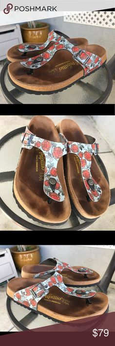 PAPILLIO Birkenstock Floral Thongs Sandals Sz 40/9 This is a Re-Posh  I grate to sell these but unfortunately they are too big :(  My loss is your gain Birkenstock Shoes Sandals