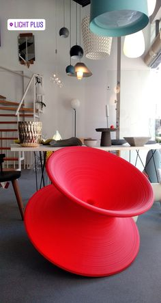 Our #newadd #addition #spun @magis_official . #designlovers #designobject #designproduct  #designandlive #designerdeinteriores  #lightdesign #loveourjob #news Magis, Rocking Chair, Lighting Design, Table, Red, Furniture, Home Decor, Chair Swing, Light Design