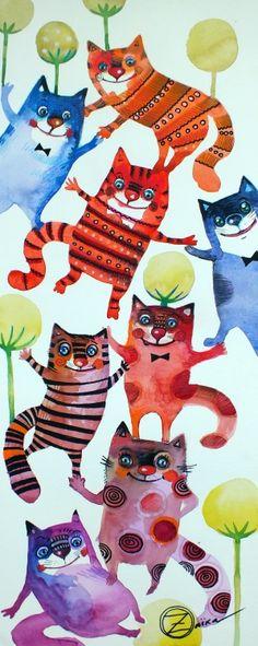 Oxana Zaika gang of cats, colored