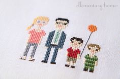 Cross-stitch family portrait from Ellementary Home (inspired by Martha Stewart Living).