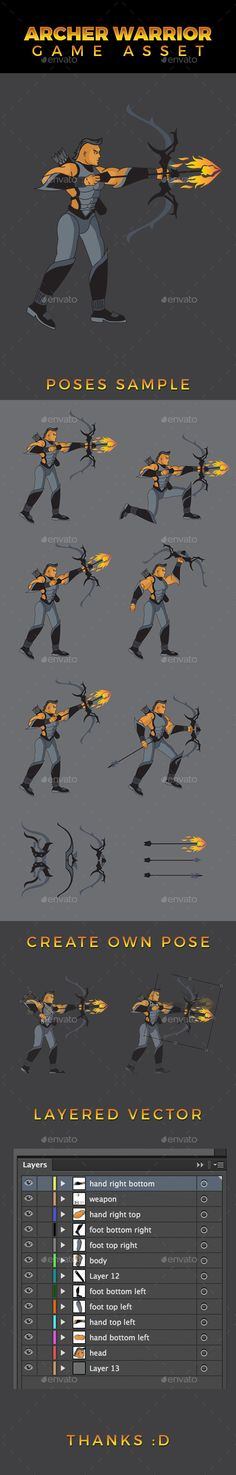 Archer Warrior Game Asset — Vector EPS #game asset #warrior • Available here → https://graphicriver.net/item/archer-warrior-game-asset/11110297?ref=pxcr