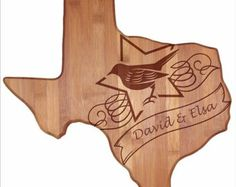 Personalized Texas Cutting Board - Texas Shaped Bamboo Cutting Board Custom Engraved - Wedding Gift, Couples Gift, Housewarming Gift