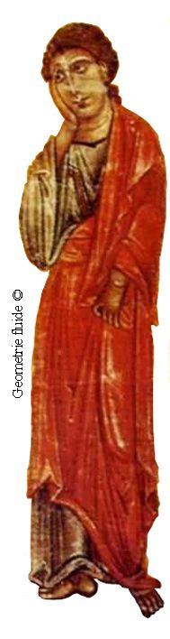 Berlinghiero Berlinghieri - Croce di Lucca, dettagio San Giovanni - c. 1220 - Tempera su tavola - Museo Nazionale di Villa Guinigi, Lucca