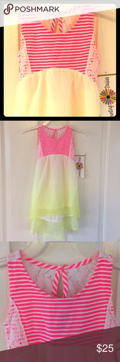New Counting Daisies dress New Counting Daisies yellow dress with pink stripes Counting Daisies Dresses Casual