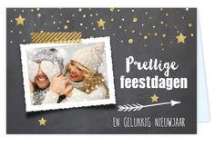 Dubbele kerstkaart met goudlook, liggende foto en gouden confetti