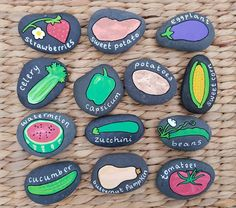 Set of 8 Summer Vegetables Seedling Markers Hand Painted Rocks - Modern Design Painted Garden Rocks, Hand Painted Rocks, Vegetable Painting, Garden Painting, Veg Garden, Garden Art, Garden Ideas, Garden Boxes, Balcony Garden