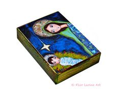 Nativity Star   Aceo Giclee print mounted on Wood 25 by FlorLarios, $10.00