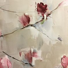 Detail roses Oil on cotton/linen blend Nicole PLETTS Oil On Canvas, Canvas Art, Grey Wall Decor, Pallet Art, Large Flowers, Art Pictures, Abstract Art, Design Inspiration, Floral Paintings